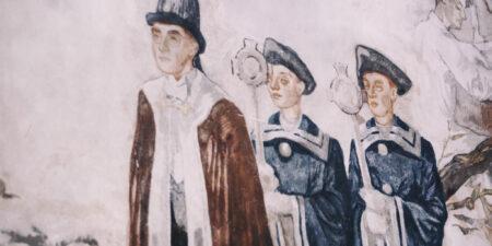 Del av väggmålningen i Kåren.