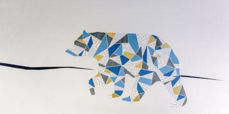 Väggmålning med björn.