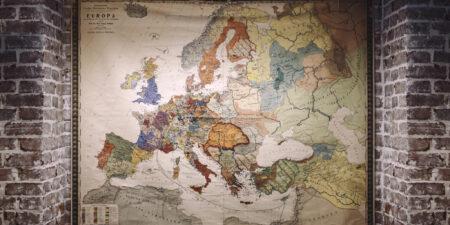 Gammal karta över Europa.
