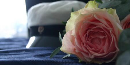 Bild på studentmössa och en ros.