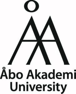 Svartvit logo med engelsk text.