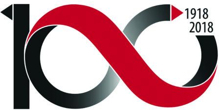 Logo med siffran hundra som liknar tecknet för oändligheten
