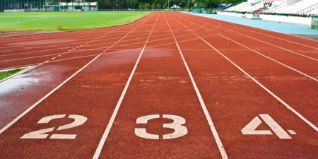 Number Two Three And Four On The Start Of A Running Track