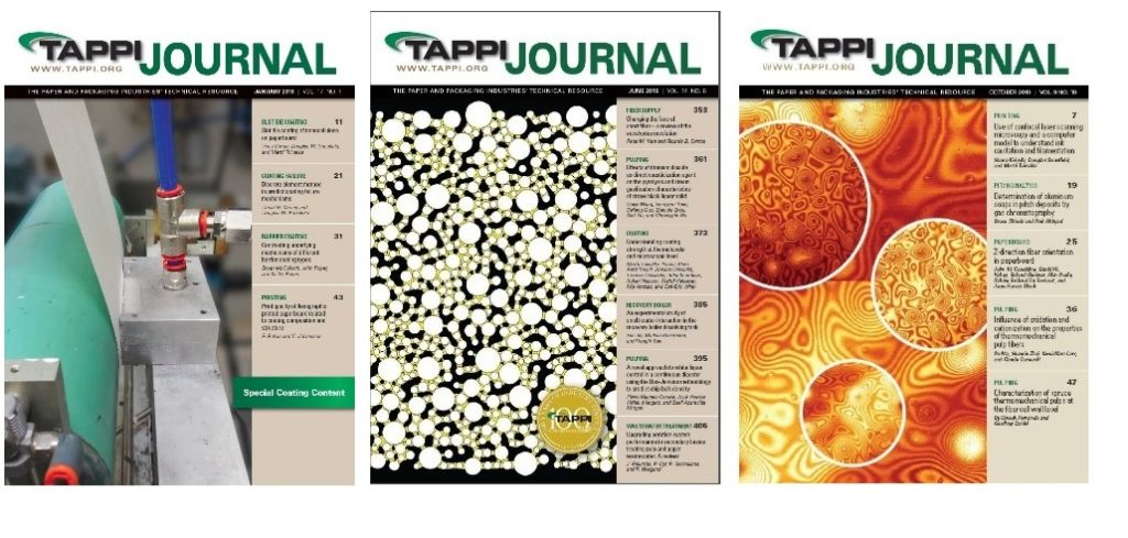 Covers of three issues of Tappi Journal