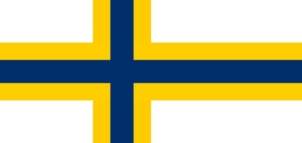 Sverigefinländarnas flagga, blått kors i gult kors på vit bakgrund.