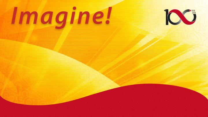 Banner för evenemanget Imagine! Text och logo på gul och röd bakgrund.