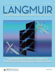 Journal cover: Langmuir, The ACS journal of fundamental interface science. The image shows cellulose fibers modified with light-responsive multifunctional polysaccharide derivatives.