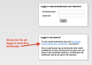 Bilden visar länken du skall klicka på för att logga in med bankkoder.