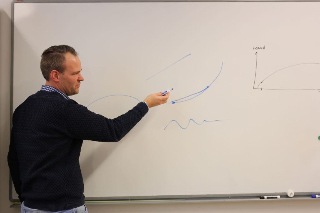 Andreas Lundell ritar grafer på whiteboard-tavla.