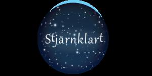 Stjärnklart i text, med stjärnhimmel i bakgrunden