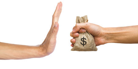 A Hands Holding Money Bag And Rejecting Hand To Receive Money Of