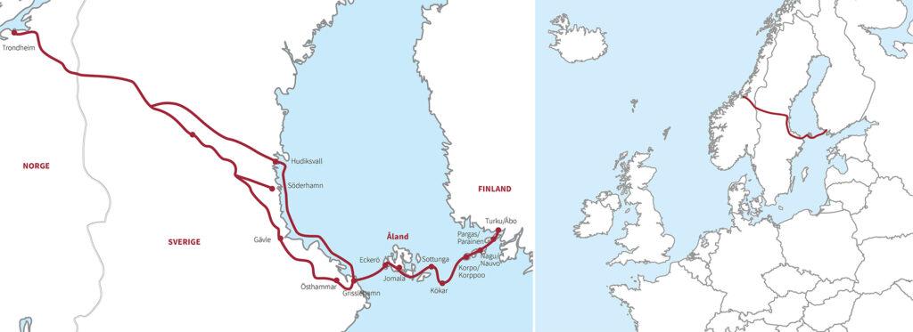 Karta över Sankt Olofs sjöled från Åbo till Trondheim.