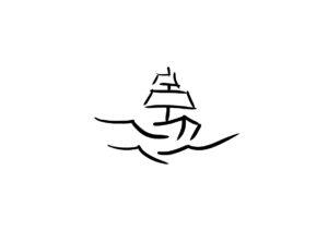 Logo föreställande en båt på havet