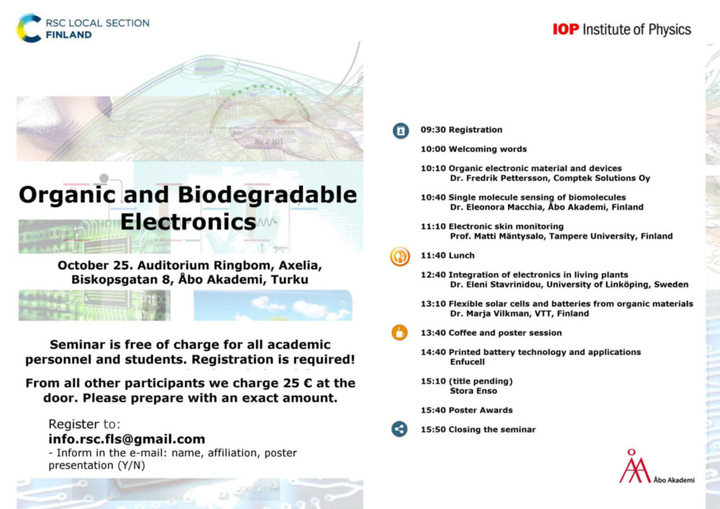 flyer of a seminar on organic and biodegradable electronics