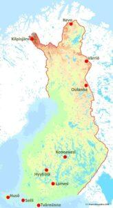 Karta som visar hur de finländska universitetens forskningsstationer sprider sig rätt jämnt över landet, med en viss koncentration till sydvästra Finland.