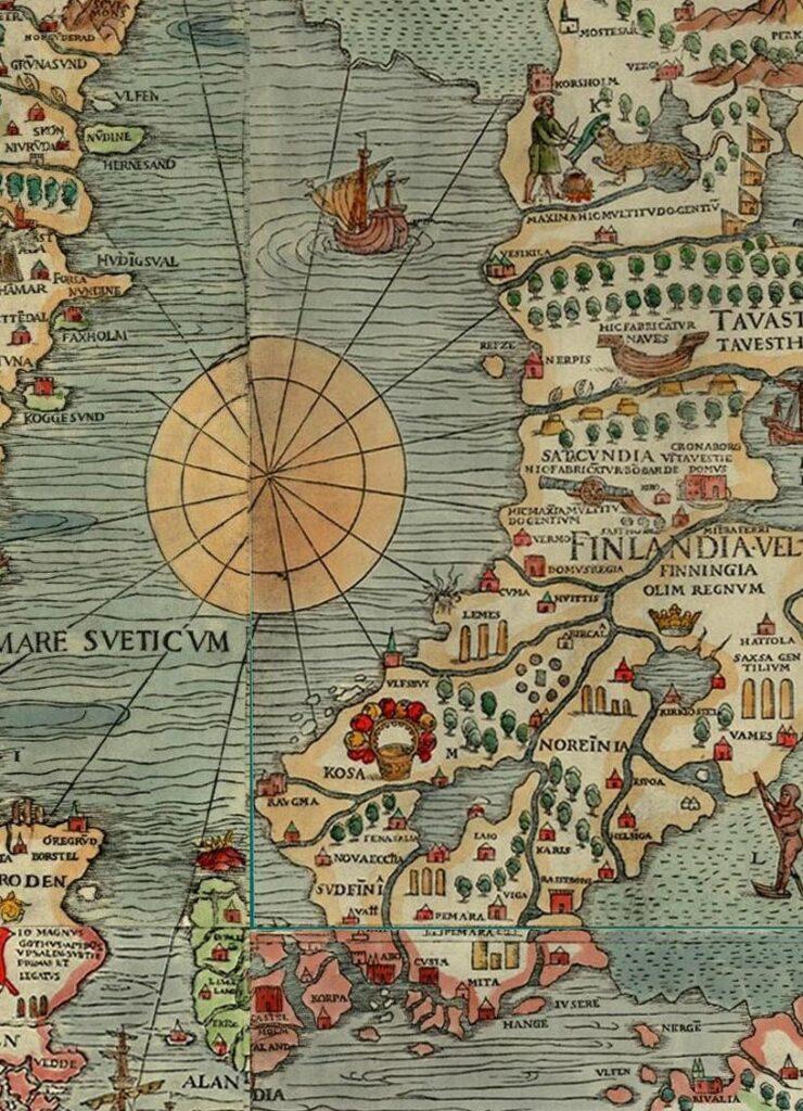 Detalj ur Carta Marina från 1539.
