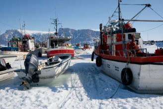 Boats in the ice in Uummannaq, Greenland