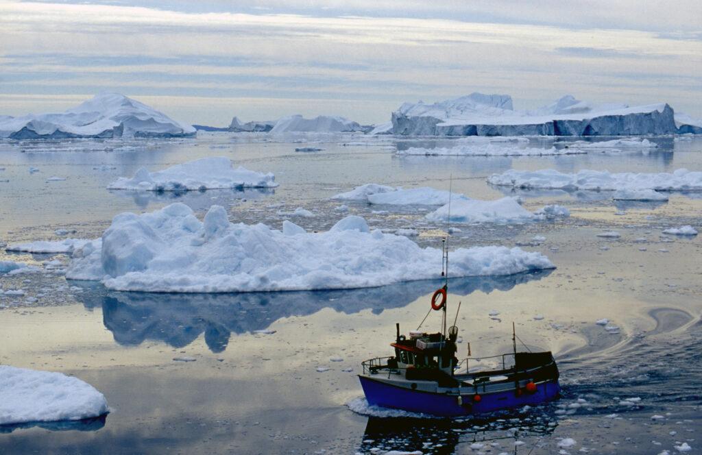 Jäävuoria Diskolahdella Grönlannin länsirannikolla.