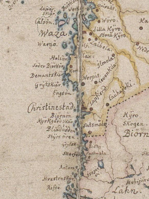 Detalj ur Carl Gripenhielms karta från 1685