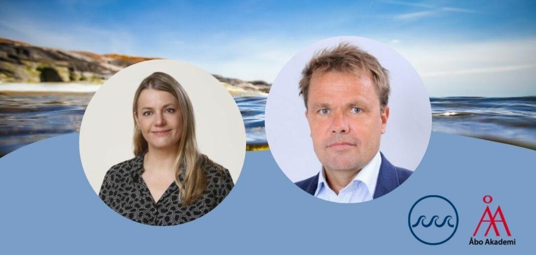 Porträttbilder av biträdande professor Nina Tynkkynen och forskningsledare Henrik Ringbom mot en bakgrund av havet.