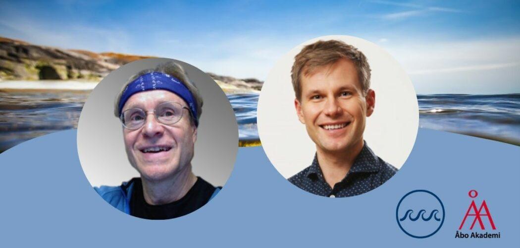 Porträttbilder av Per Jonsson och Conny Sjöqvist inuti cirklar mot en havsbakgrund. Nere till höger Åbo Akademis strategiska forskningsprofil Havets logo och ÅAs logo.