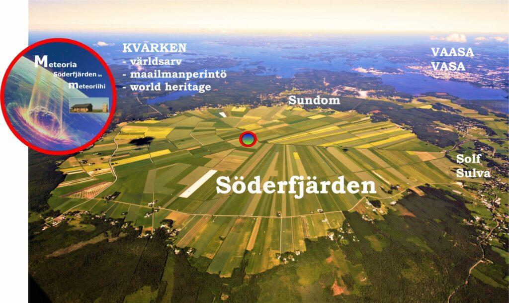 En flygbild över platta Söderfjärden.