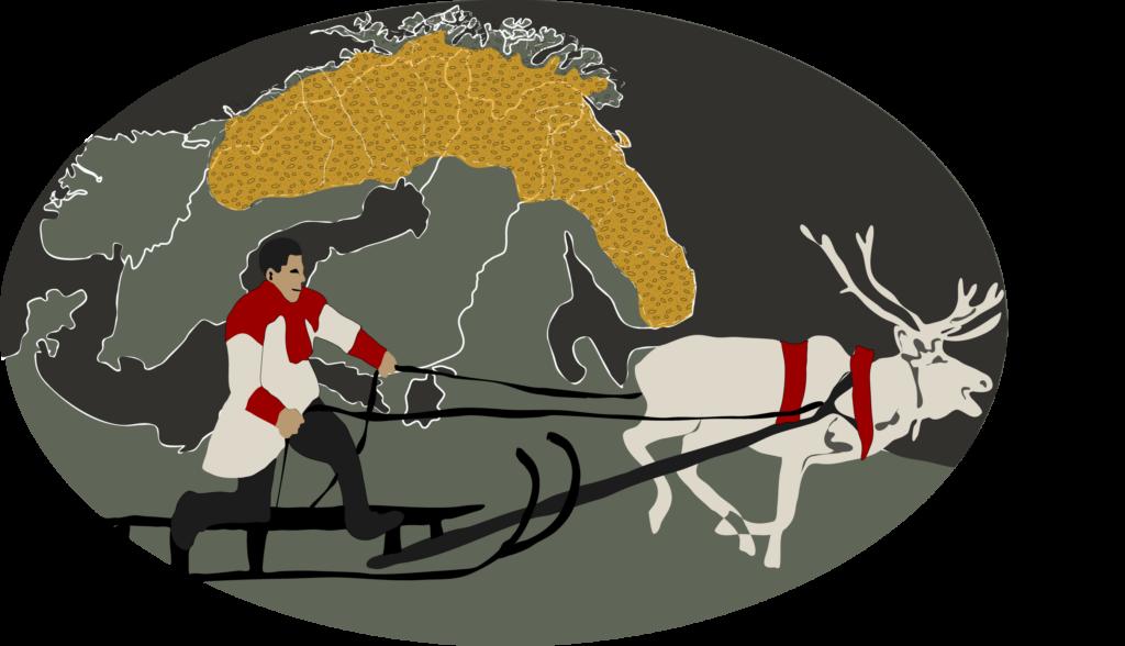 Grafisk bild på en same i släde dragen av en ren. I bakgrunden karta som visar var samerna finns.