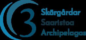 logo i blått med en trea och ordet skärgårdar på svenska, finska och engelska.