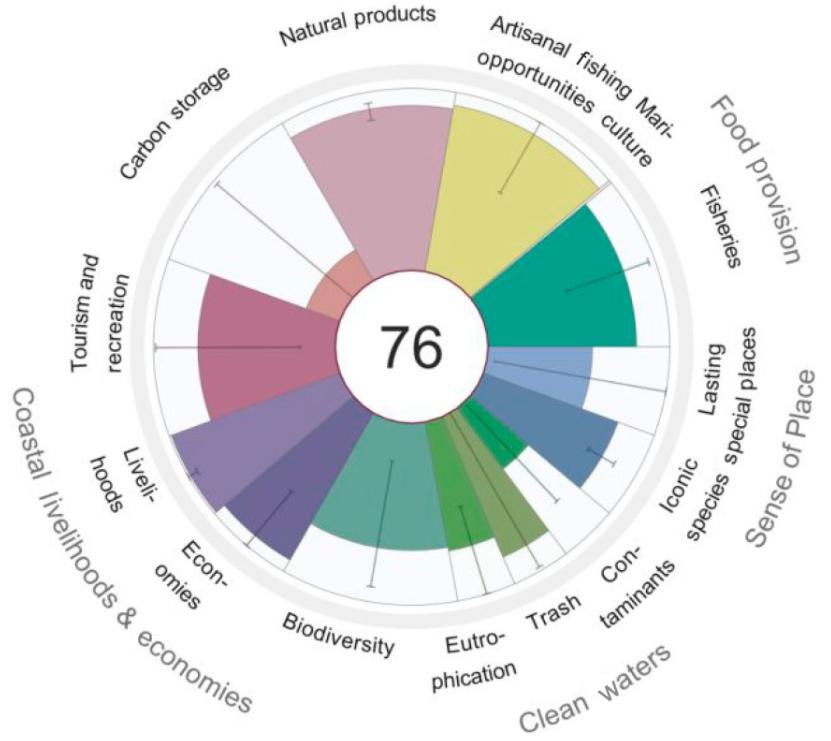 Bilden visar med sektorer hur väl olika målsättningar i Östersjön nås. Möjligheter till fiske, marikultur, livnäring och ekonomi går bra, och också naturprodukter. För kolbindning, föroreningar och bevarandet av unika miljöer är sektorerna mycket låga, vilket inte är en bra sak.
