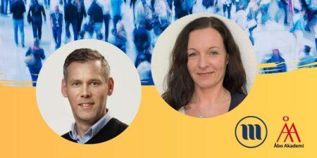 Runda porträttbilder av Lauri Rapeli och Marina Lindell. I bakgrunden uppe en folkmassa och nere gult.