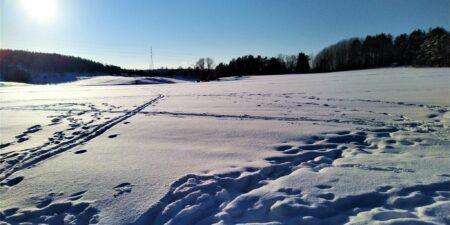 En snötäckt åker i solskensväder.