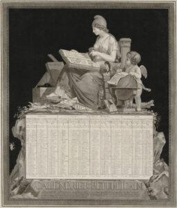 Kalender med teckning av Frihetsgudinnan på en tron. Bredvid sig har hon en kerub och bakom ligger bland annat moralen.