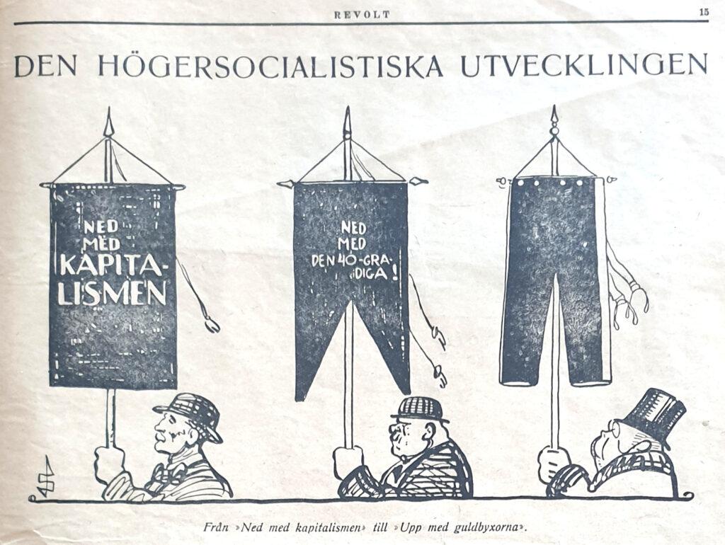 """Teckning av tre män som bär standar. Rubriken är """"Den högersocialistiska utvecklingen"""". På den första fanan står """"Ned med kapitalismen"""", på den andra står """"Ned med den 40-gradiga"""" och den tredje fanan är ett par byxor. De tre männen ser mera välbärgade ut vartefter."""