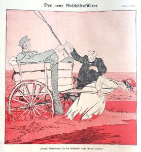 Teckning av kvinna som drar kärra med Frankrikes premiär- och krigsminister Georges Clemenceau i. I bakgrunden står en man som ger Clemenceau en piska.