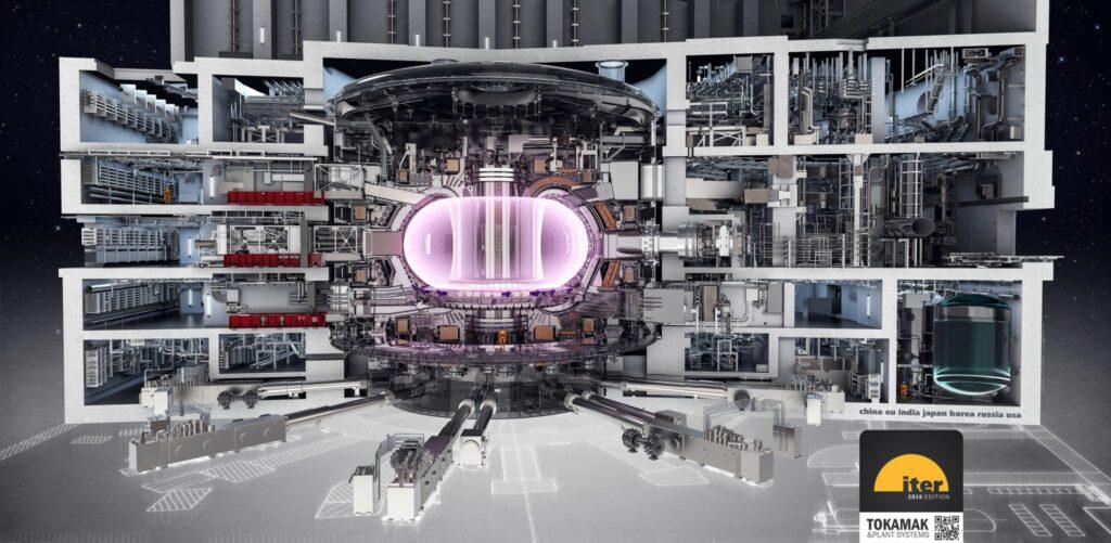 Illustration som visar en genomskärning av en tre våningar hög fusionsreaktor.