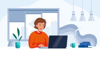 Tecknad bild på en kvinna som sitter framför en dator och arbetar på distans hemifrån.