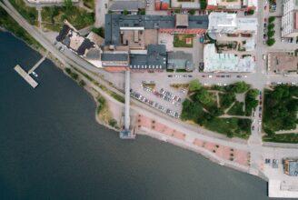 Flygbild på Academill.