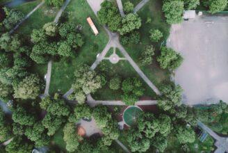 Flygbild på en park.