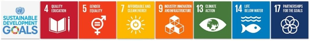 Logos of Sustainable Development Goals, 4 (Quality Education), 5 (Gender Equality), 7 (Affordable and Clean Energy), 9 (Industry, Innovation and Infrastructure), 13 (Climate Action), 14 (Life Bellow Water), and 17 (Partnerships for the Goals)
