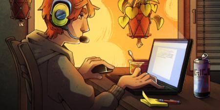 illustration av en ung person som bär hörlurar och sitter framför en dator och skriver