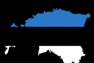 Karta över Estland som är färglagd i Estlands flaggas färger.