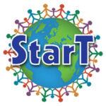 Logon för StarT med en illustrerad jordglob och människor som håller varandra i handen.