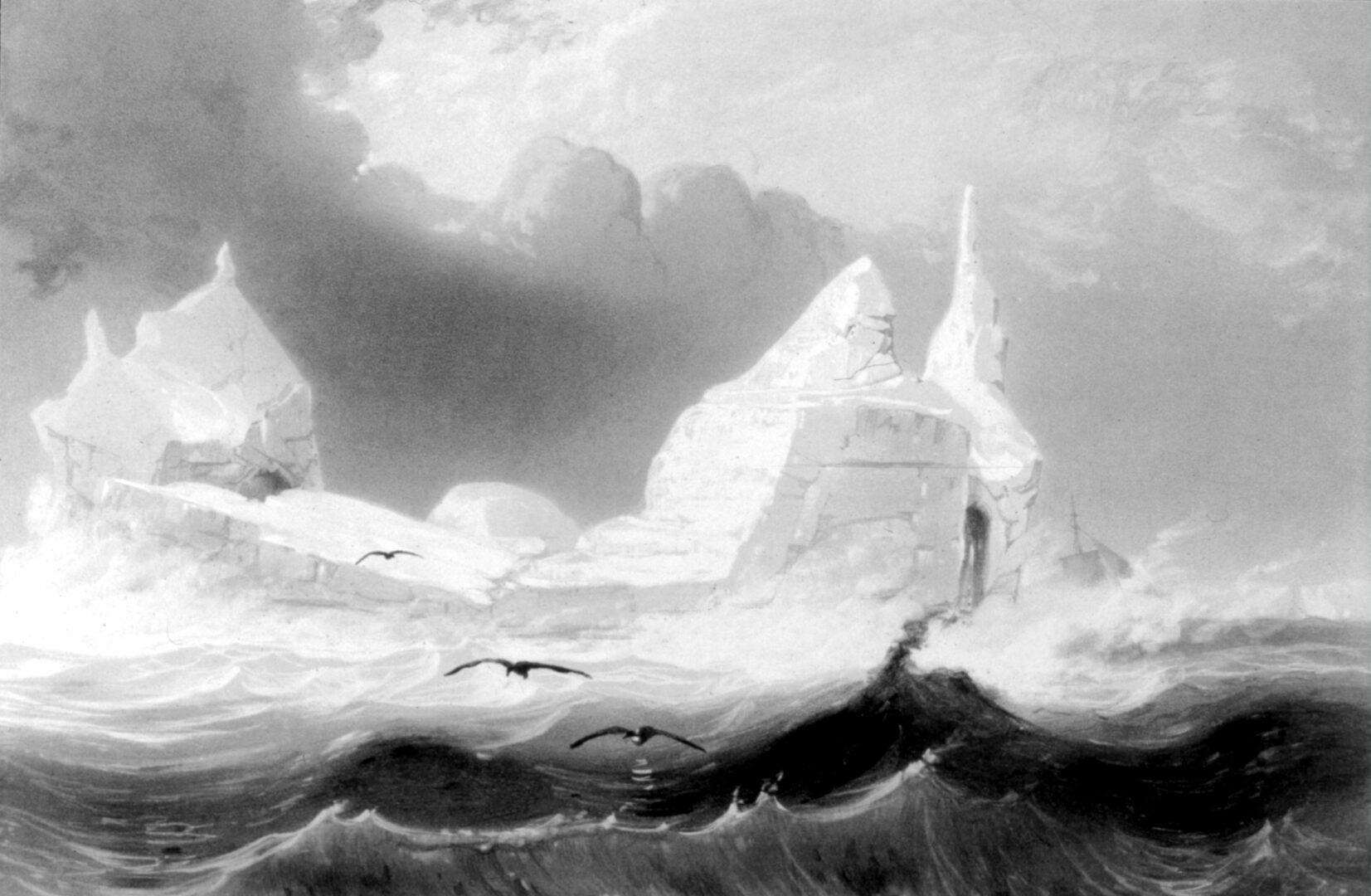 Fåglar och mörka, höga vågor. Moln och isberg i bakgrunden.