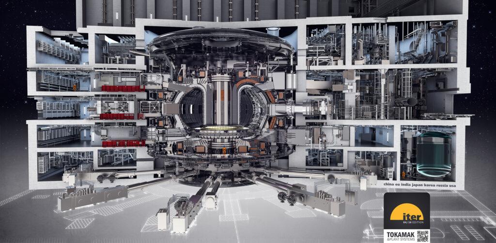 Genomskärning av fusionsreaktorn och reaktorkomplexet i fem våningar.