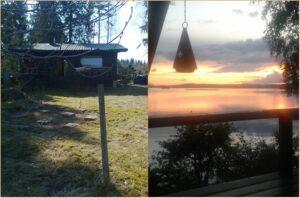 Collage. Sommarstuga. Solnedgång